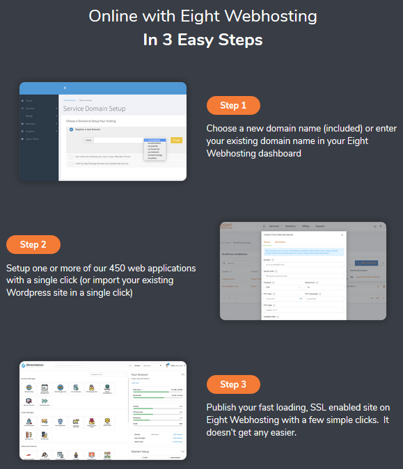 Eight WebHosting Review - Steps