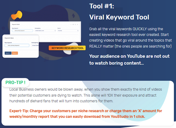 YouStudio Review - Tool1. Viral Keyword Tool