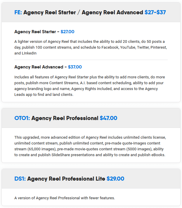 AgencyReel Review - Funnel FE & OTO's (1)