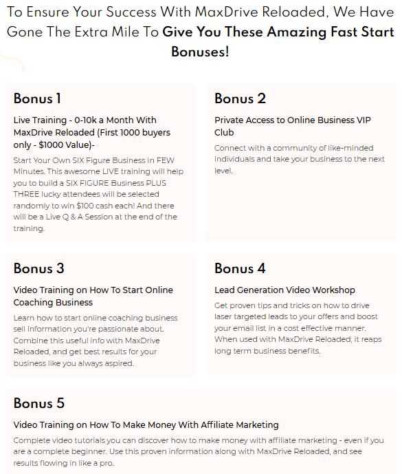 MaxDrive Reloaded Review - Bonuses